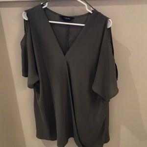 Tops - Olive green, open shoulder blouse. Size 22